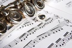 Flauta - fundo da música fotografia de stock royalty free