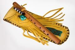 Flauta nativa con la bolsa Fotos de archivo