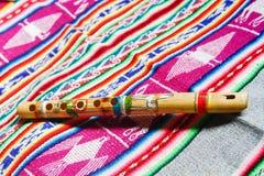 Flauta peruana de madera Foto de archivo