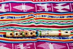 Flauta peruana de madera Imagenes de archivo