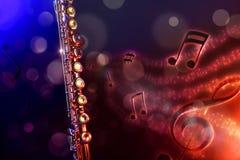 Flauta transversal da ilustração com fundo vermelho e azul preto Fotos de Stock Royalty Free