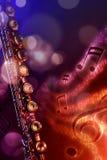 Flauta transversal da ilustração com fundo vermelho e azul preto Imagem de Stock Royalty Free