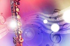 A flauta transversal da ilustração com vermelho e o azul ilumina o horizonta Imagem de Stock Royalty Free