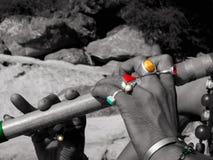 Flauta y anillos coloreados imágenes de archivo libres de regalías