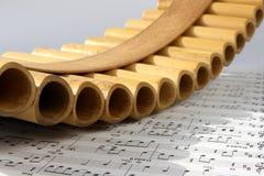 Flauta y notas de la cacerola Fotos de archivo libres de regalías