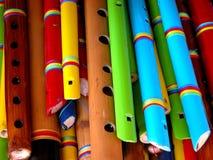 Flautas coloridas de madera Imágenes de archivo libres de regalías