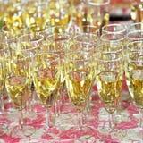 Flautas de champán llenas en un vector Fotos de archivo