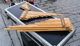 Flautas de la cacerola, zampona, siku Imagen de archivo libre de regalías