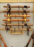 Flautas de madera Fotos de archivo libres de regalías