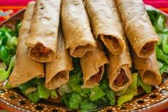 Flautas de pollo炸玉米饼和辣调味汁自创食物墨西哥人墨西哥城 免版税图库摄影