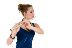 Flautist attraente Fotografia Stock Libera da Diritti