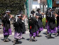 Flautist kids. Japanese flautist kids group during a traditional street festival in Kyoto, Japan Royalty Free Stock Photo