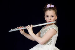 Flautist Playing her Flute Stock Photos