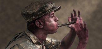 Flautista rojo de la piel Foto de archivo