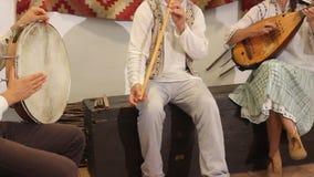 Flauto e mandolino accompagnati dal batterista Fotografia Stock Libera da Diritti