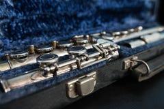 Flauto traverso in suo caso Fotografie Stock