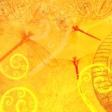 Flavescent Yellow Dragonfly Flourish Leaf Translucent Layer Abstract Wallpaper Tile Stock Photos