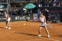 Flavia pennetta double sara errani brindisi fed cup Royalty Free Stock Images