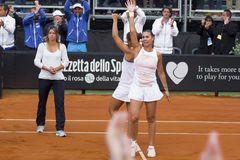 Flavia pennetta double sara errani brindisi fed cup Royalty Free Stock Photos