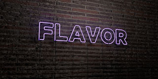 FLAVOR -Realistic Neon Sign on Brick Wall background - 3D rendered royalty free stock image. Can be used for online banner ads and direct mailers Stock Photo