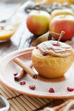 Flavored apple baked with cottage cheese Stock Photo