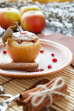 Flavored apple with cheese and honey baked Royalty Free Stock Photo