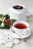 Flavored black tea in white porcelain dish Stock Photography