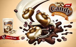 Flavored candy ad. Coffee flavored candy ad with candy and milk elements, orange background Stock Images