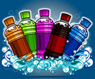 Flavored drinks. On water background Stock Image