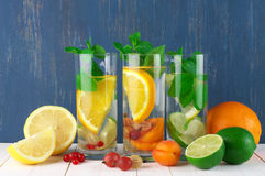 Flavored fruit infused water Stock Photography