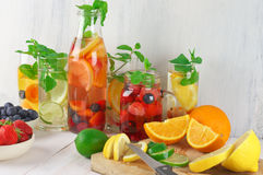 Flavored fruit infused water Royalty Free Stock Photography
