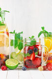 Flavored fruit infused water Royalty Free Stock Image