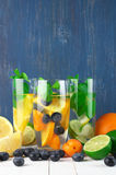 Flavored fruit infused water Royalty Free Stock Photo