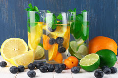Flavored fruit infused water Stock Image