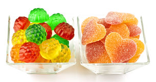 Flavored gummy hearts Royalty Free Stock Photography