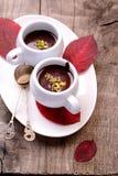 Flavored hot chocolate in small ceramic chashkahna Stock Photo
