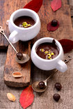 Flavored hot chocolate in small ceramic chashkahna Royalty Free Stock Photo