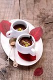Flavored hot chocolate in small ceramic chashkahna Royalty Free Stock Photography