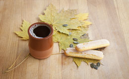 Flavored Hot Coffee with Biscuit Stock Images