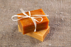 Flavored natural handmade soap. On the linen cloth Royalty Free Stock Photos