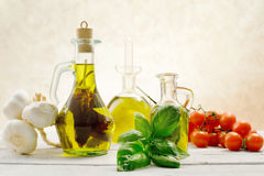 Flavored  olive olis with genuine ingredients Royalty Free Stock Images