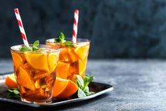 Flavored orange iced tea Stock Photo