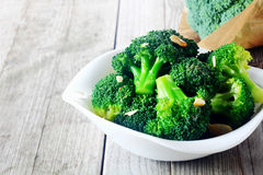 Flavored Steamed Broccoli On White Plate Royalty Free Stock Images