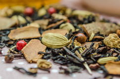 Flavored tea macro placer, refinement custard from disease. Royalty Free Stock Images