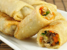 Flavorful Egg Rolls. A delicious serving of egg rolls filled with chicken, napa cabbage, carrots, mung bean sprouts, wood ear fungus, and green onions stock photo