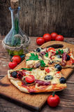Flavorful homemade pizza with bacon Royalty Free Stock Image