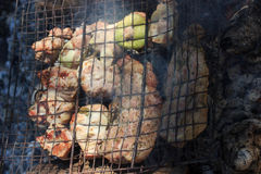 Flavorful meat on the grill with smoke in forest Stock Image
