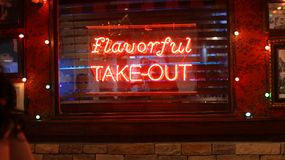 Flavorful Take-Out. Neon sign Royalty Free Stock Images