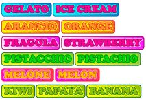 Flavors of ice cream with fruit Stock Photo
