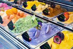 Flavors of ice cream in store royalty free stock photography